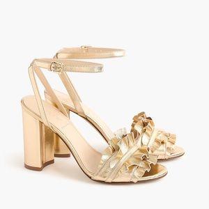 J.Crew Gold Ruffle Sandal 8.5 NIB